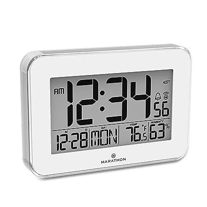 Marathon cl030060 cristal diseño Atomic reloj de pared