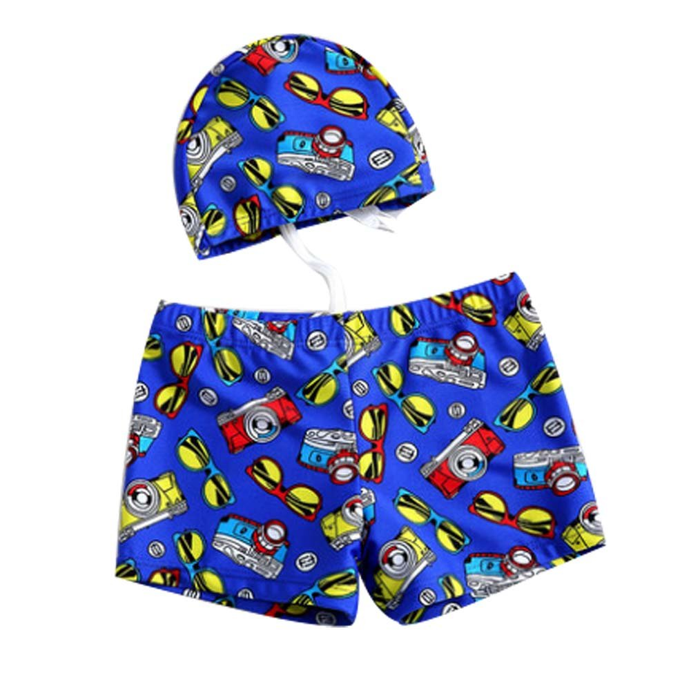 Boy's Leg Swim Shorts with Cartoon Swimming Cap for Kids Asian XL Great Gift Panda Superstore PS-SPO2420246011-EMILY00707
