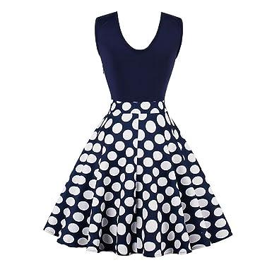 jinjiachenglt New New Vintage Dress Summer Female Knee Length Patchwork Polka Dots Elegant Party Dress Retro Women Dresses at Amazon Womens Clothing store: