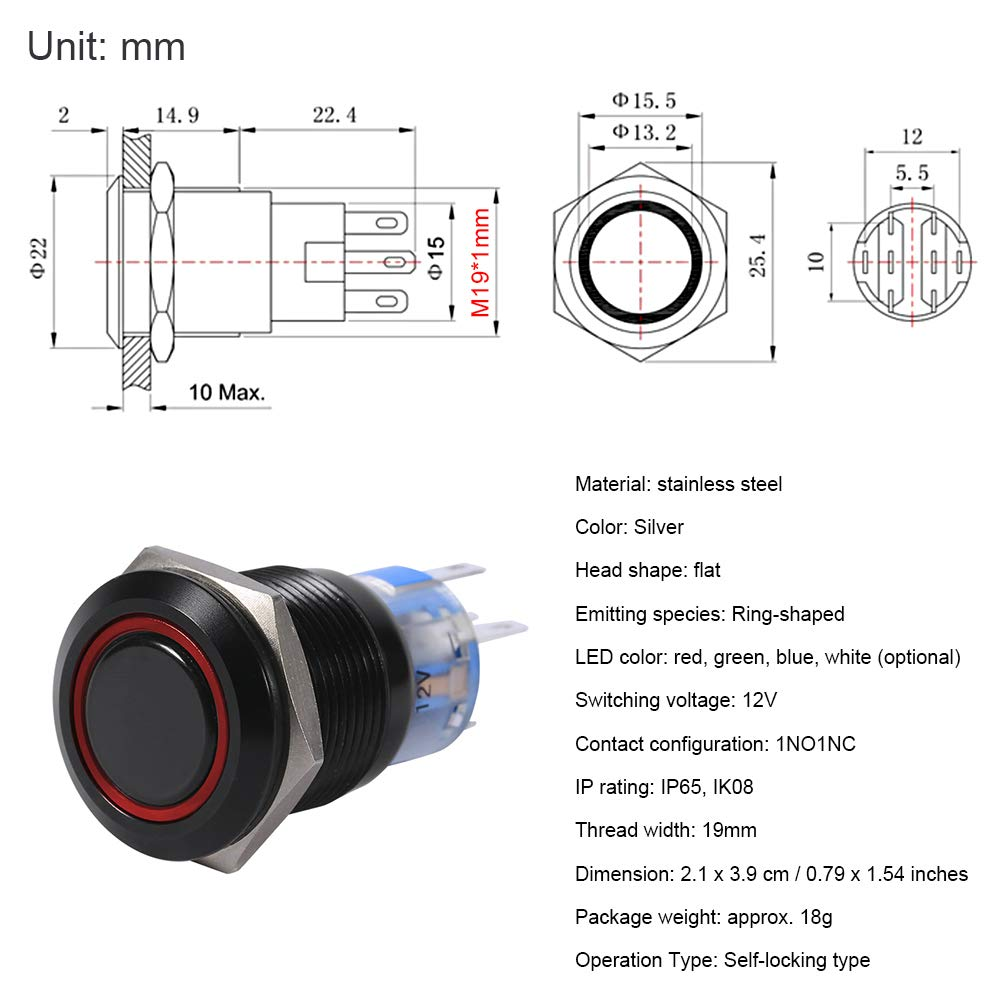 Self-locking Switch Latching Push Button Switch Metal Black Shell High Flush Push Button Switch Red 19mm 12V On//Off LED Latch Control 1NO1NC