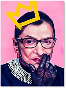 Canvas Boards For Painting Wall Mural America Supreme Court Justice Ruth Bud Ginsberg Feminism Political Inspirational Empowerment Lawyer Stretched Posters Home Decor Decals Wall Art 18x24inch