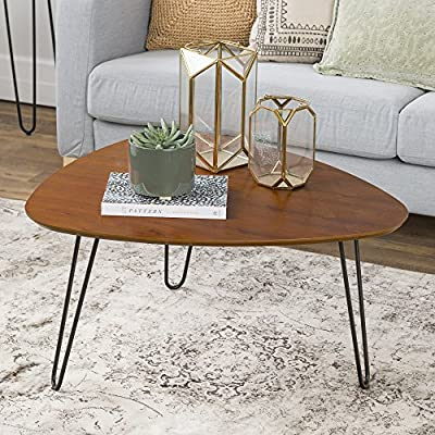 "WE Furniture Mid Century Modern Hairpin Coffee Accent Table Living Room, 32 Inch, Walnut - Dimensions: 18"" H x 32"" L x 29"" W High-grade MDF table top with wood veneer Pair with matching siding table for a complete living room set - living-room-furniture, living-room, coffee-tables - 61U%2Bt2%2BDrgL. SS400  -"