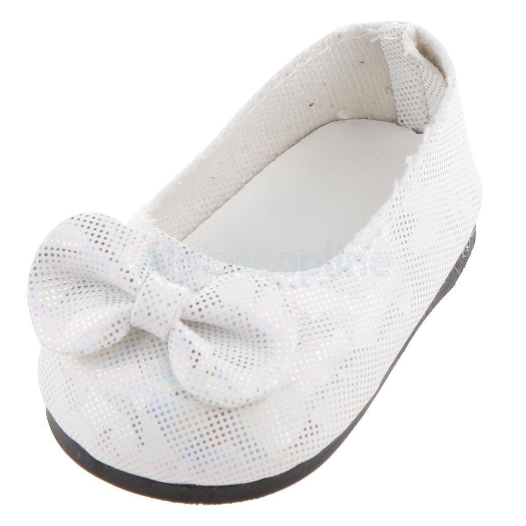 84dffe59d854a Amazon.com: Fashion White Bowknot Princess Shoes Fit 18 Inch ...