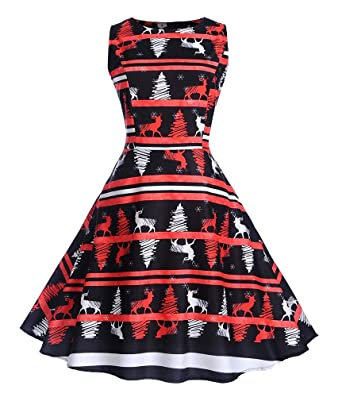 c4998754bf03 Vanbuy Womens Casual Sleeveless Reindeer Print A Line Fit and Flare  Christmas Dress at Amazon Women's Clothing store: