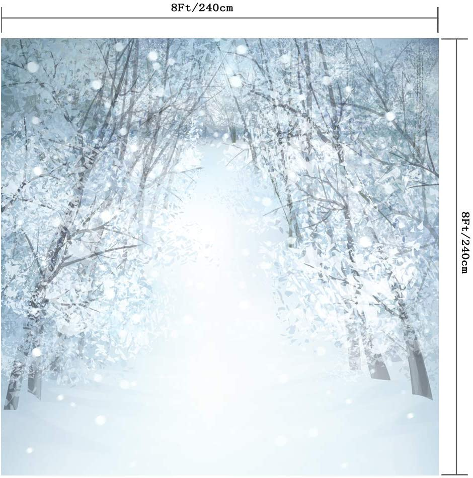 Forest in The Snow for Christmas Seamless Customized Backdrop Vinyl Photography Photo Background Studio Prop PGT277D 300X300CM SZZWY 10X10FT