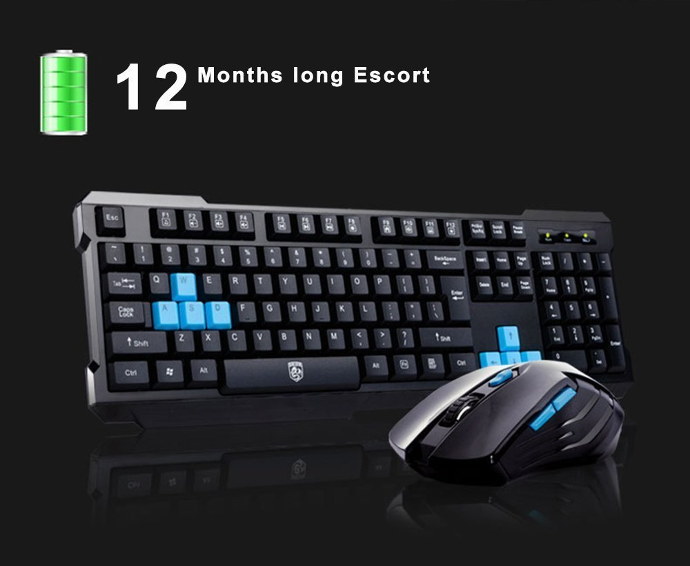 Keyboard Mouse Combos,Soke-Six Waterproof Multimedia 2.4GHz Wireless Gaming Keyboard with USB Cordless Ergonomic Mouse DPI Control For Desktop PC Laptop(Black) by Soke-Six (Image #2)