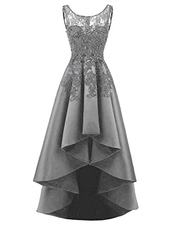 EEFZL Womens Beaded Lace Homecoming Dress High Low Satin Prom Evening Dresses Grey US2