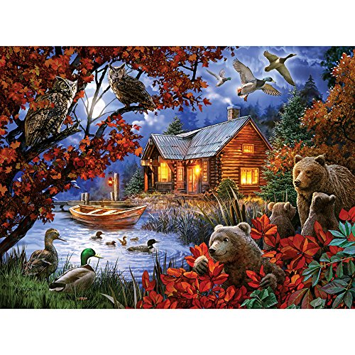 Bits and Pieces - 300 Piece Jigsaw Puzzle for Adults - Moonlight Serenity - 300 pc Cabin in The Woods Jigsaw by Artist Larry Jones