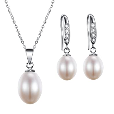 3668a40b5 AAA Quality Freshwater Cultured Pearl Necklace & Earring Set - Matching Freshwater  Pearl Drop Earrings Box Gift SFJS29: Amazon.co.uk: Jewellery
