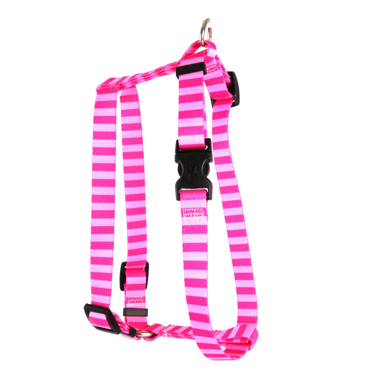 Yellow Dog Design Pink Pink Stripe Roman Style H Dog Harness, Large-1'' Wide fits Chest of 20 to 28''
