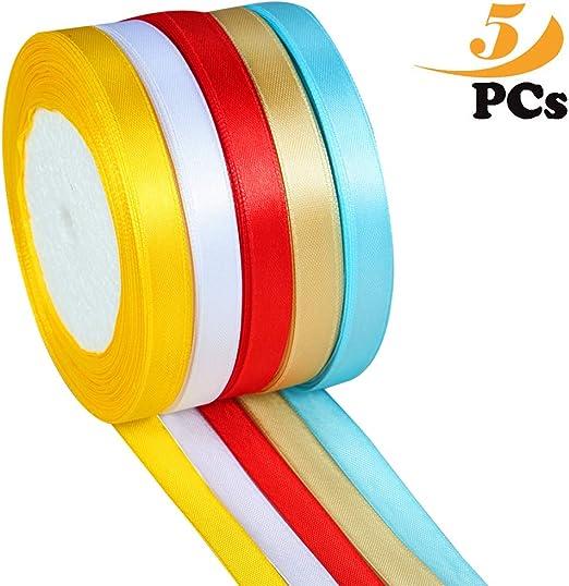 cinta raso,10 mm cinta de raso 25 yardas/rollo/colores, tela cinta satinado rollo 5 colores: Amazon.es: Hogar