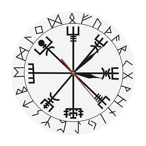 Pmrioe Brújula Rúnica Reloj De Pared Vegvisir Runa Círculo Vikingo Mitología Nórdica Reloj Moderno Y Moderno