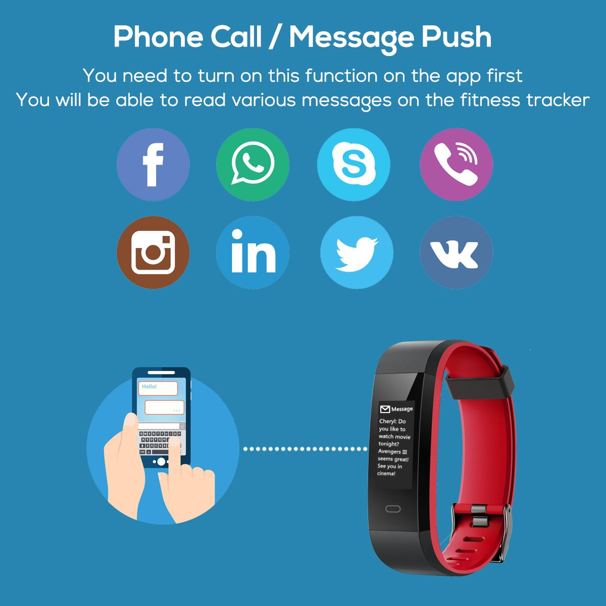 CHEREEKI Montre Connectée, Fitness Tracker Smartwatch Bracelet Connecté Podometre Tracker d\'activité Etanche IP68 pour Femme Homme