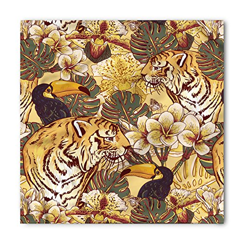 Tiger Scarf - Ambesonne Unisex Bandana, Tiger Tropical Bengal Toucan, Yellow Blue