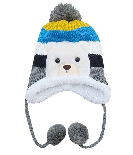 106bed53992 MEYKISS Infant Cute Baby Girl Boys Knit Wool Polar Bear Beanie Winter Hat  Cap Grey