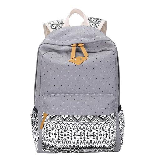 MingTai Backpack Mochilas Escolares Mujer Mochila Escolar Lona Grande Bolsa Estilo Étnico Vendimia Lunares Casual Colegio Bolso Para Chicas Gris: Amazon.es: ...