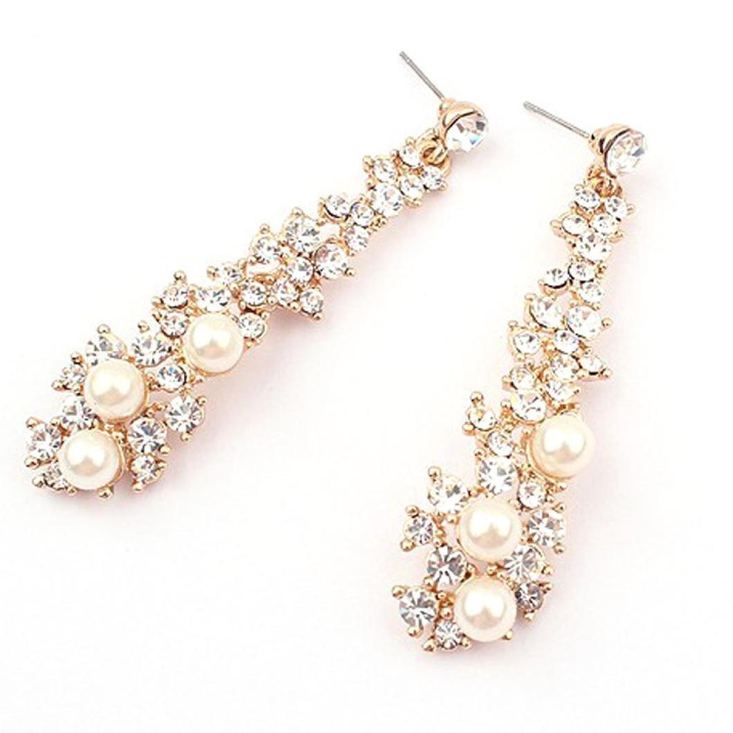 Mother's Day Gift, Muranba Pearl Long Earrings,Women Rhinestone Long Drop Earrings (Silver)