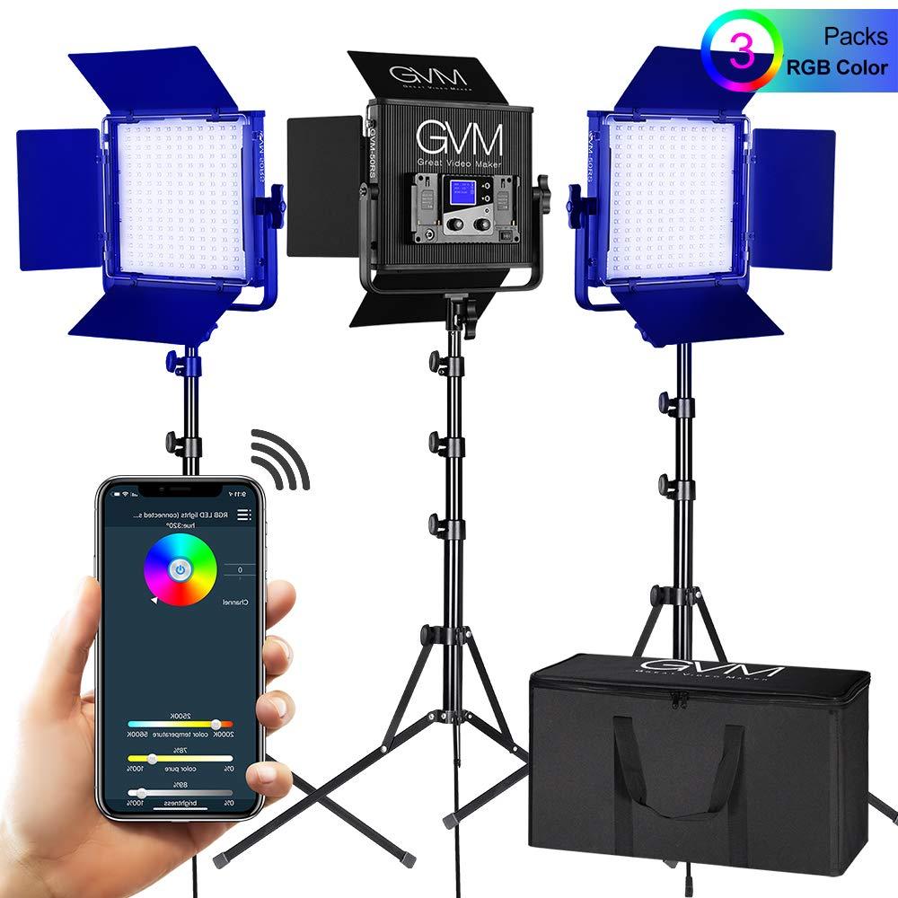 GVM 3 Pack RGB LED Video Lights Kit, Multi-Color Output with APP Control CRI97 Adjustable 2000K-5600K LED Video Lighting Kit for YouTube Photography TV Studio Camera Film Lighting