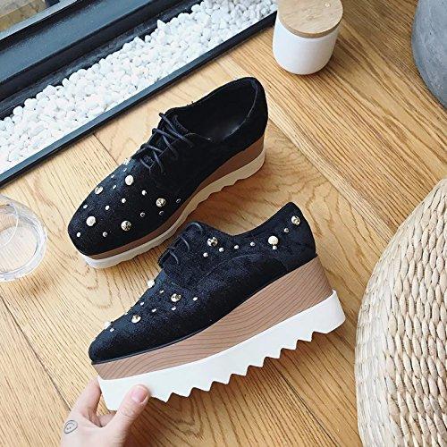 cuñas zapatos gamuza la perla remaches black SFSYDDY de zapatos gruesa corbata plaza plataforma Calzado En zapatos suela de aumentado primavera gq4zBw