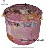 HANDMADE Christmas Decorative Bohemian Ottoman Patchwork Ottoman Indian Hand Embroidered Indian Vintage Cotton Round Pouf Foot Stool , Vintage Pouf Ottoman Seating Pouf Ottoman
