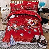 POTENCO Christmas Bedding Sets Collections Santa Claus Printed Bedspreads Coverlets Sets Comforters Decorations (red, 200x200cm)