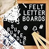 "Felt Letter Board, SPECIAL GIFT BUNDLE - Black (10'' x 10'') INCLUDES:690+ Letters/Numbers/Characters (340 ¾""+ 350 1"")+ SORTING TRAY+ Letter Pouch+ Letterboard Stand + Gift Box! Oak Frame - 3 Pcs"