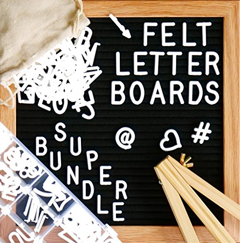 """Felt Letter Board, SPECIAL GIFT BUNDLE - Black (10'' x 10'') INCLUDES:690+ Letters/Numbers/Characters (340 ¾""""+ 350 1"""")+ SORTING TRAY+ Letter Pouch+ Letterboard Stand + Gift Box! Oak Frame - 3 Pcs by Little Hippo"""