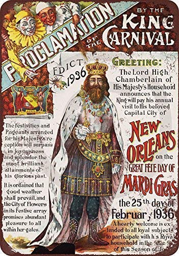 Nice Tin Sign Aluminum Retro 1936 Mardi Gras New Orleans Metal Sign 8 X 12 Inch]()