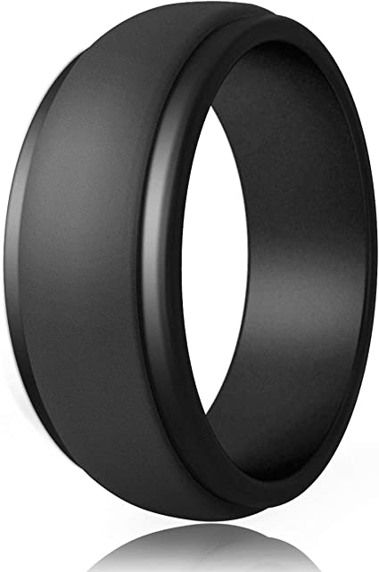 Zollen Silicone Wedding Ring for Men 6 Packs Mens Rubber Wedding Bands Durable Rubber Rings for Crossfit Workout