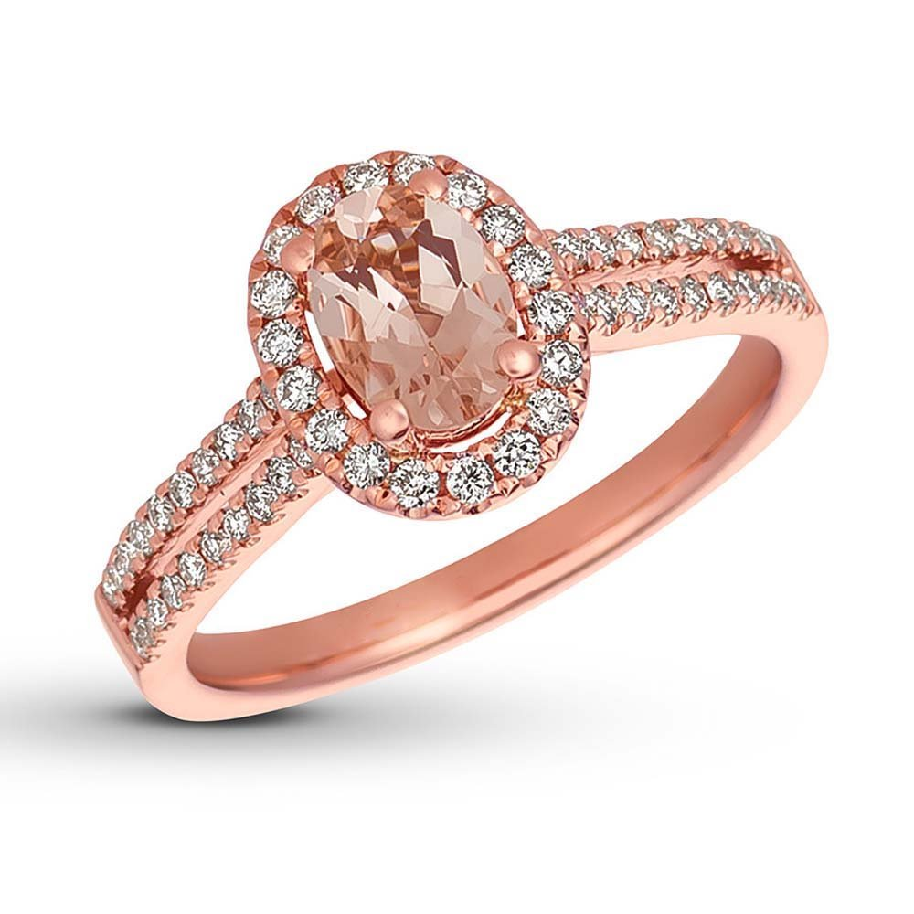Oval Shape Morganite /& White CZ 14K Rose Gold Plated Engagement Wedding Solitaire Bridal Ring
