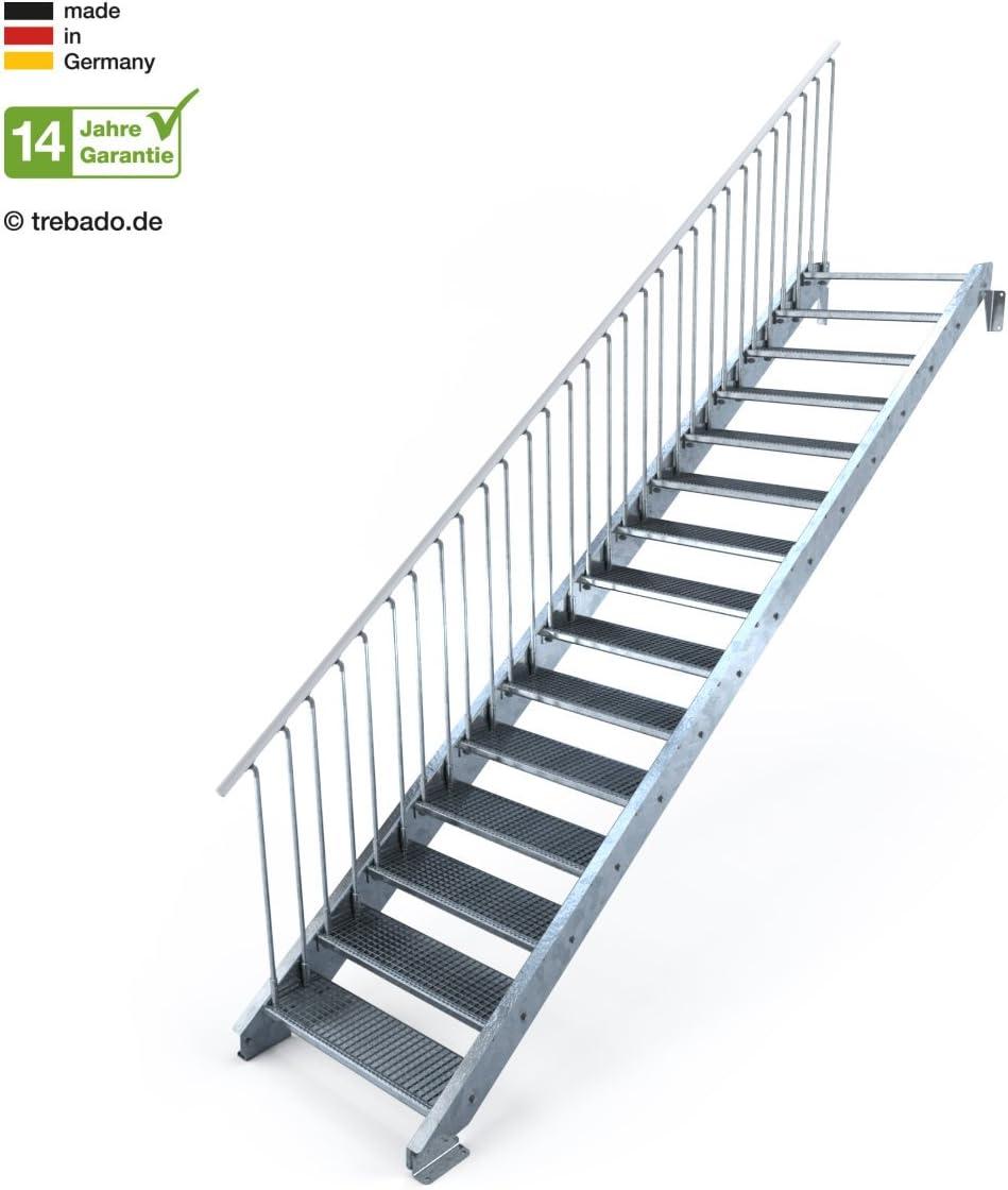 Gitterroststufe ST3 einseitiges Gel/änder links Au/ßentreppe 15 Stufen 90 cm Laufbreite Anstellh/öhe variabel von 250 cm bis 300 cm feuerverzinkte Stahltreppe mit 900 mm Stufenl/änge als montagefertiger Bausatz