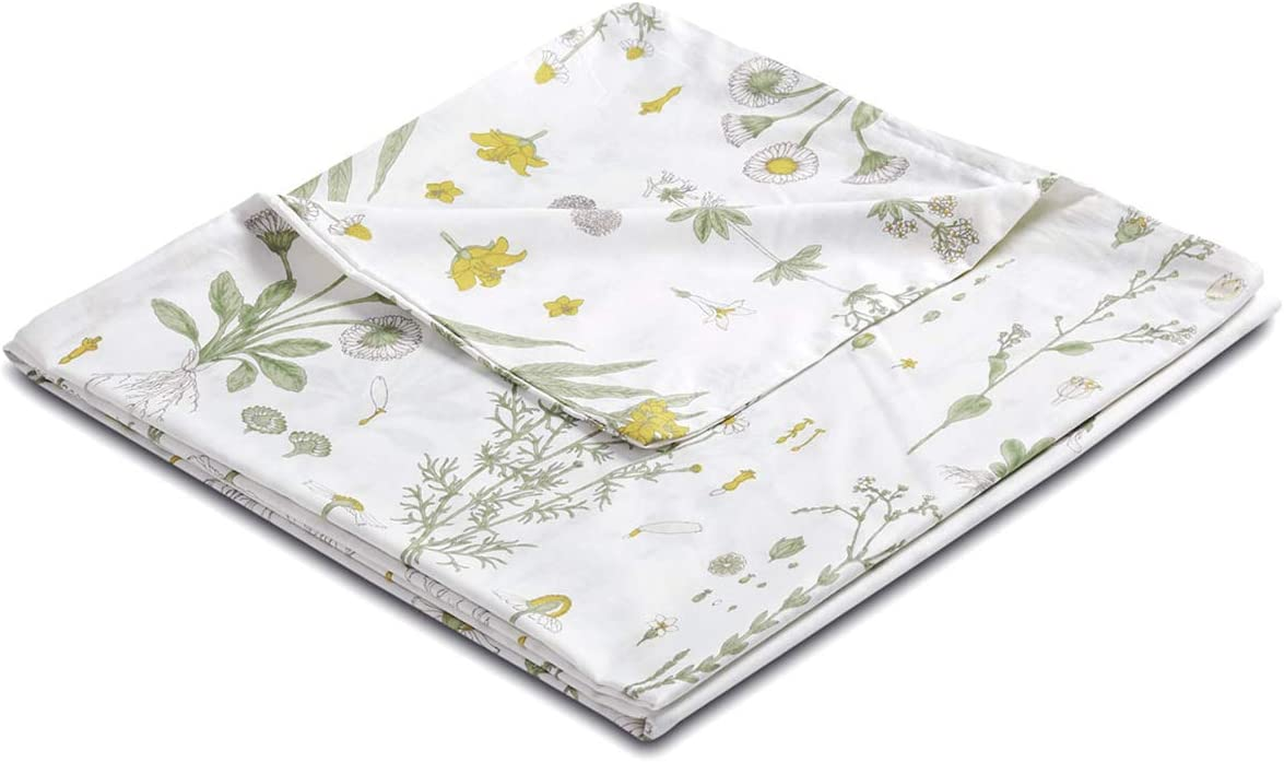 "Wake In Cloud - Botanical Cover for Weighted Blanket, 48""x72"" Removable Duvet Cover, Yellow Flowers Green Leaves Floral Garden Pattern Printed on White, 100% Cotton Fabric (1pc Cover Only)"