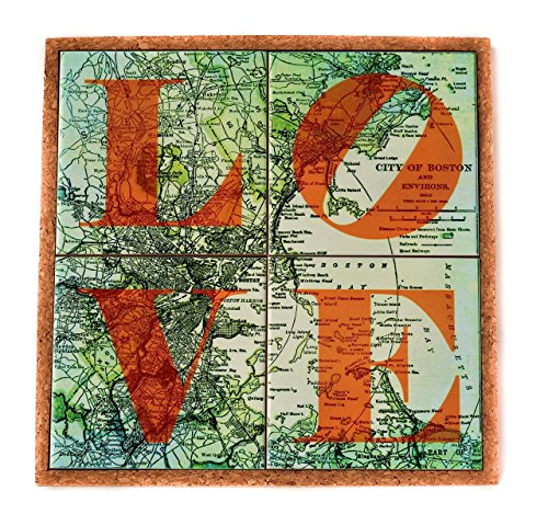 Boston Coasters and Trivet Set Map Coasters Housewarming Hostess and Moving (Boston Trivet)
