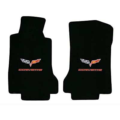 2005-2006 C6 Corvette Ebony Black Floor Mats - Crossed Flags & Red CORVETTE