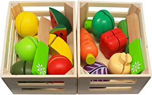 Wooden Toys for 2 Year Old - Pretend Play Food Set for Kids Play Kitchen,Cuttable Toy Fruit and Veg with Wooden Knife and Case,Gift Idea for Boys Girls Birthday