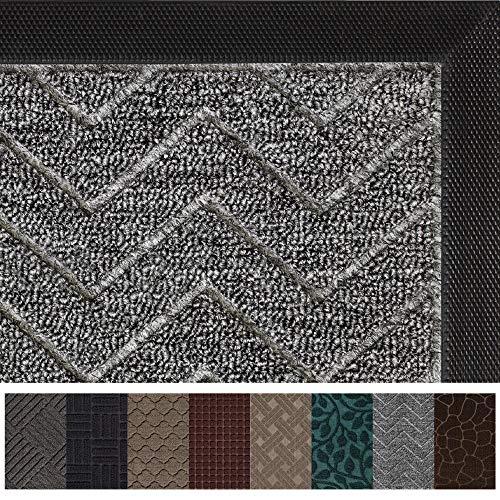 Gorilla Grip Original Durable Rubber Door Mat, Heavy Duty Doormat for Indoor Outdoor, 35x23, Waterproof, Easy Clean, Low-Profile Mats for Winter Snow, Entry, High Traffic Areas, Charcoal Chevron