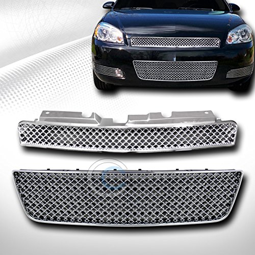 Autobotusa Chrome Sport MESH Front Upper+Lower Bumper Grill Grille 2006-2009 for Chevy Impala