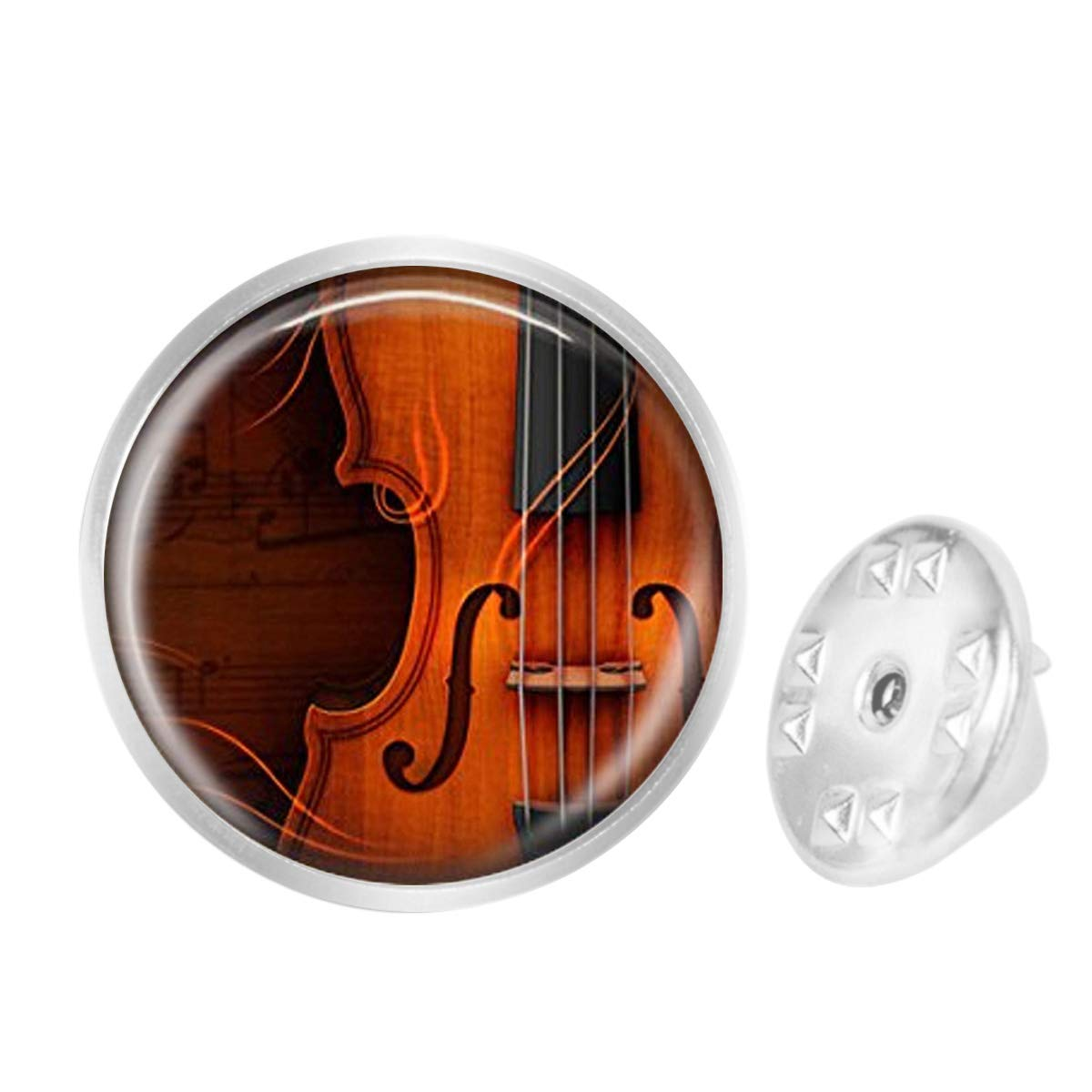 WAZZIT Round Metal Tie Tack Hat Lapel Pin Brooches Violin Instrument Music Banquet Badge Enamel Pins Trendy Accessory Jacket T-Shirt