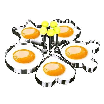 Moldes para freír huevos, GSY 5pcs un Set Huevo molde con forma de huevo para