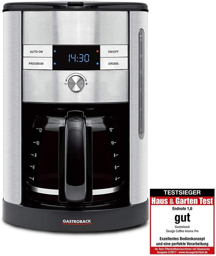 Gastroback 42704 Independiente Totalmente automática - Cafetera (Independiente, Cafetera de filtro, 1,7 L, 950 W, Negro, Acero inoxidable): Amazon.es: Hogar