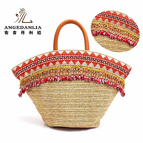 Straw Bag Tote – Angedanlia Woman Handmade Bag Summer Beach Woven Shoulder Bag 3786 (Beige-3)
