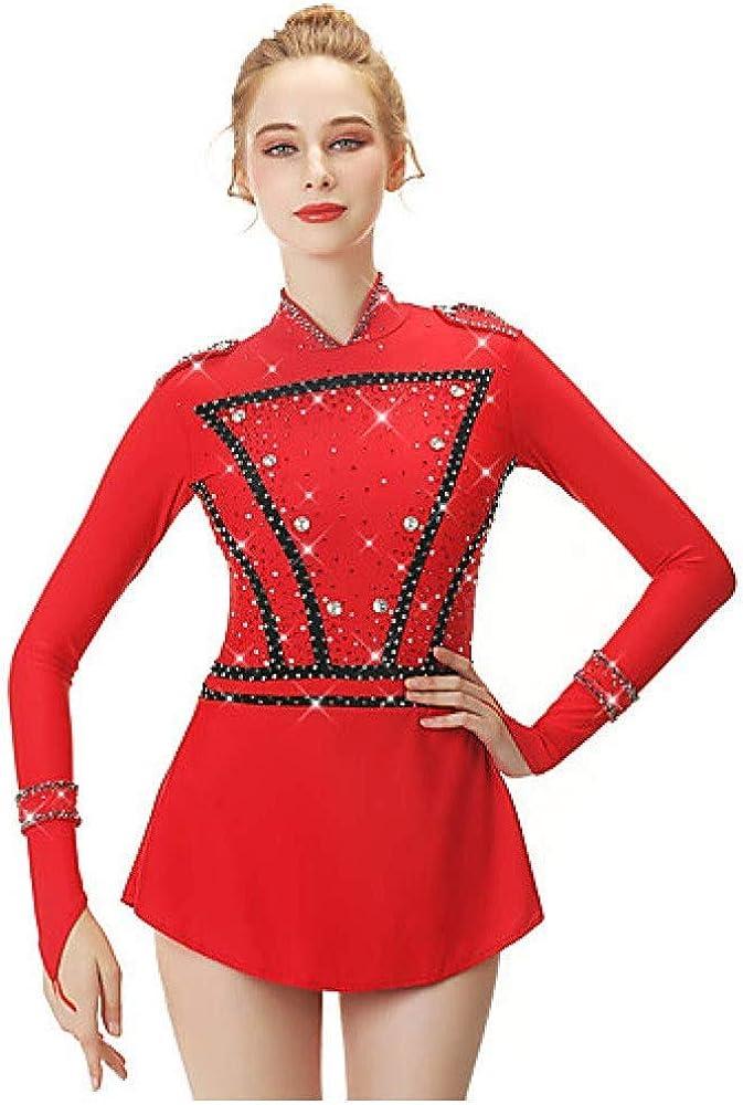 フィギュアスケートドレス、女性の女の子の赤いスパンデックス糸高弾性プロの競争スケートウェア手作りファッション長袖アイススケートウィンタースポーツ レッド S