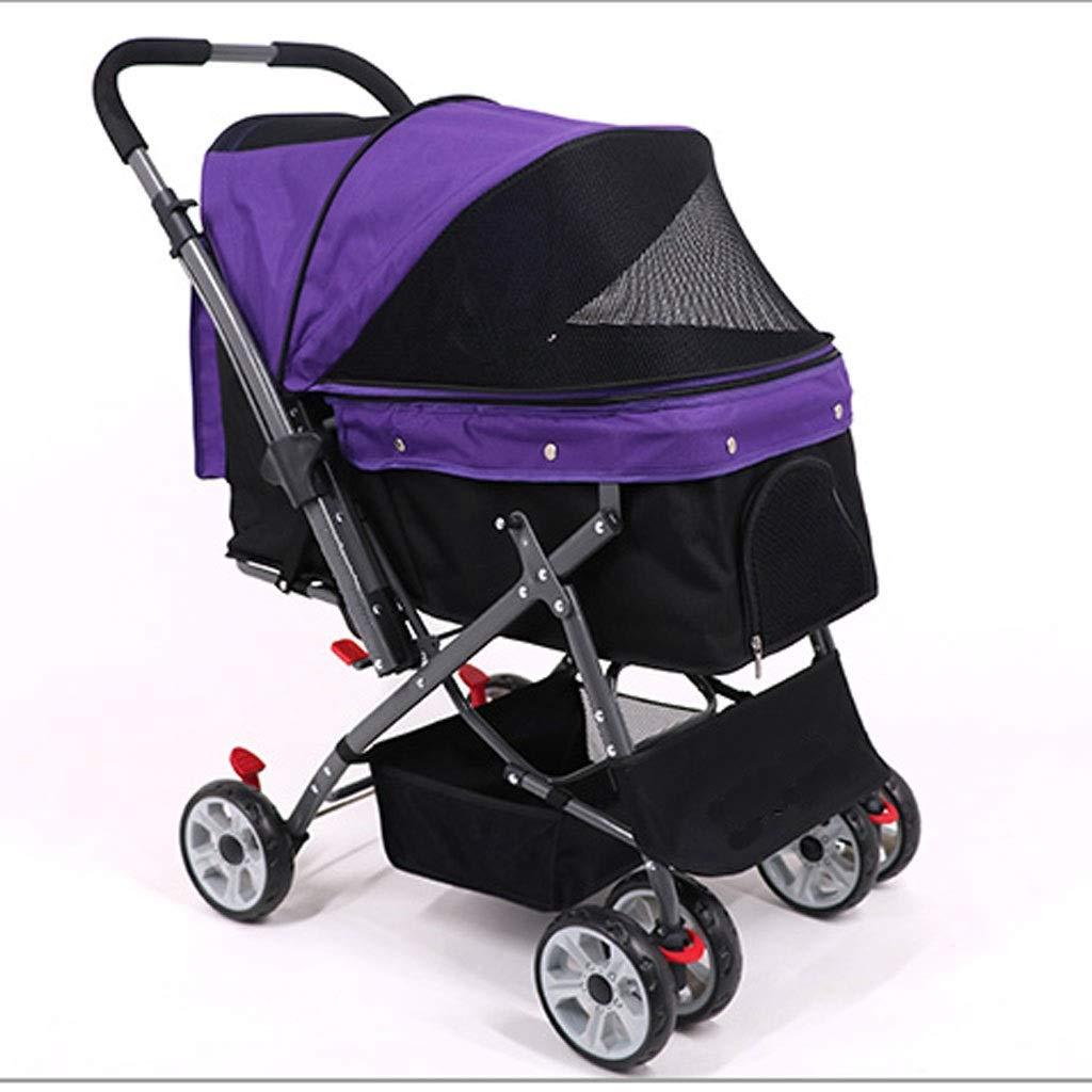 Purple MSNDD Dog Cart Pet Cart Dog Cart Dog Cart Large Space Cat-dog Foldable Cart Travel Supplies(Four-wheeles) (color   Purple)