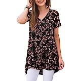 POPYOUNG Women's Summer Casual T-Shirt V-Neck Short Sleeve Tunic Tops for Leggings Loose Blouse Shirt
