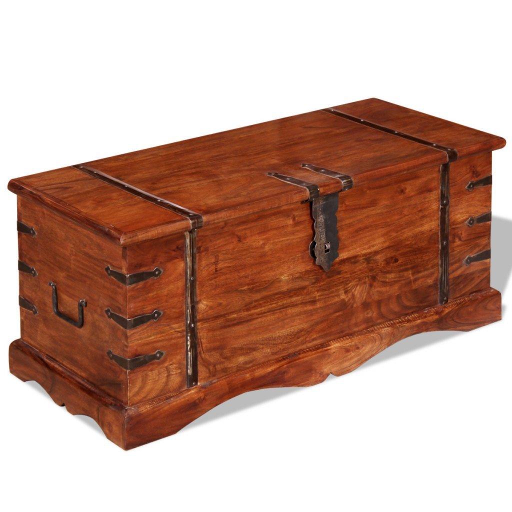 VidaXL Massivholz Massivholz Massivholz Aufbewahrungstruhe Holztruhe Couchtisch Beistelltisch Vintage 4864ff