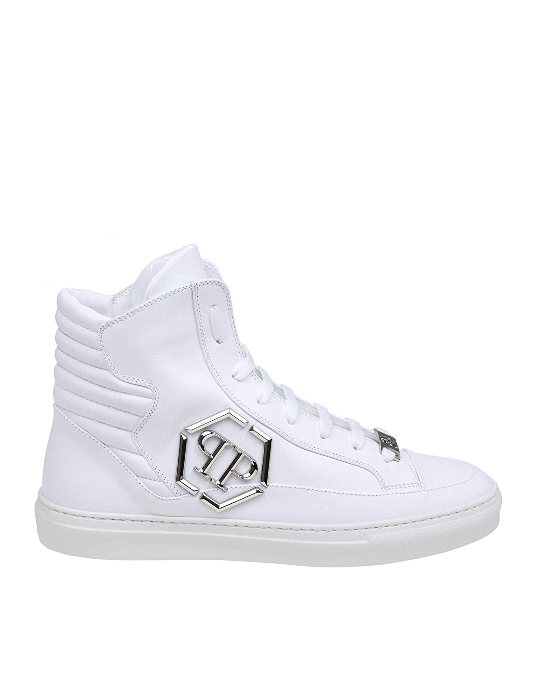 64688bfba Philipp Plein Plein Plein MSC2300PLE075N01 Men's White Leather Hi top  Sneakers 9f5837