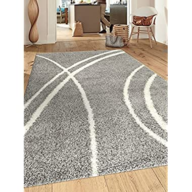Soft Cozy Contemporary Stripe L.Grey-White 5'3  x 7'3  Indoor Shag Area Rug