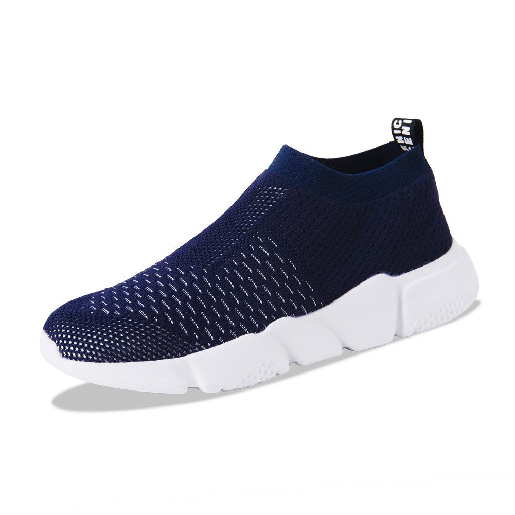 YALOX Men's Women's Walking Shoes Slip On Lightweight Sneakers Fashion Casual Breathable Athletic Running Shoes Men 6 D(M) US Navy-1-m