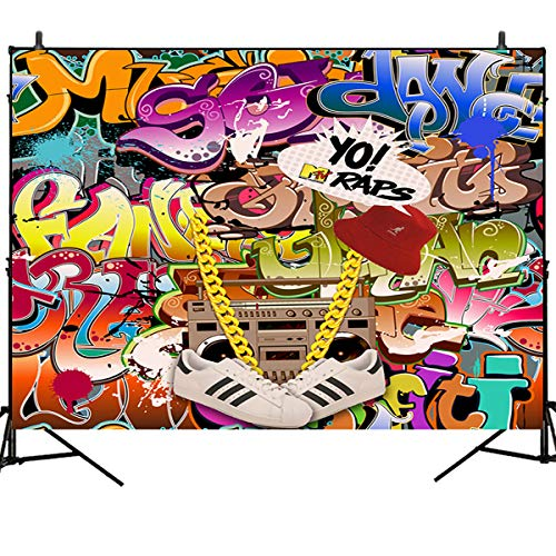 Mehofoto Hip Hop Graffiti Backdrop Retro 80th 90th Themed Party Photography Backdrops 7x5ft Urban Art Graffiti Wall Background for Picture