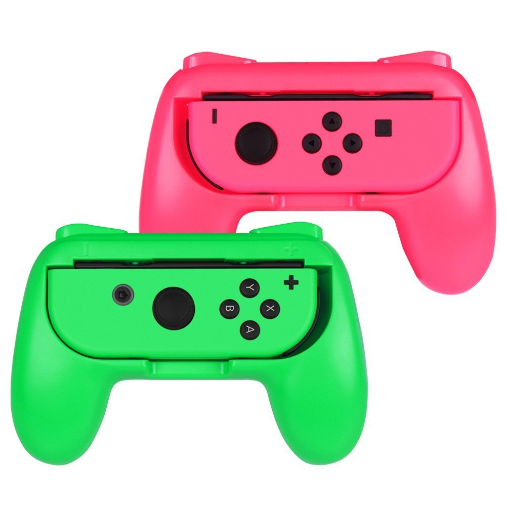 ADZ Grips 2 x Controller Grip Handles for Nintendo Switch Joy-Con Controller (Green/Pink) product image